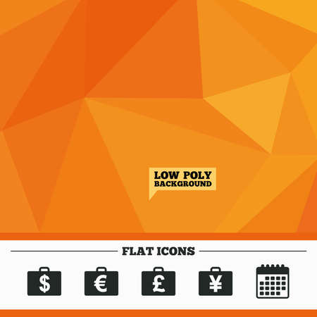 diplomat: Triangular low poly orange background. Businessman case icons. Cash money diplomat signs. Dollar, euro and pound symbols. Calendar flat icon. Vector Illustration
