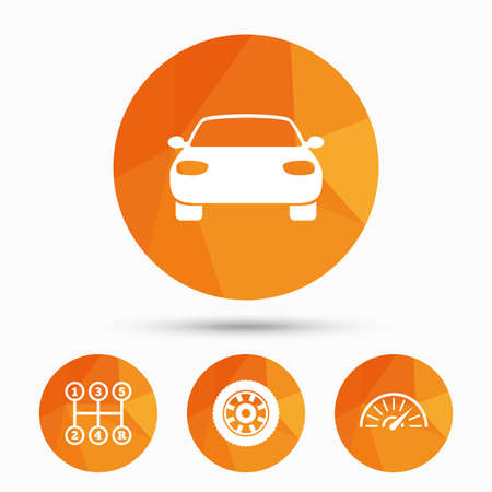 tachometer: Transport icons. Car tachometer and mechanic transmission symbols. Wheel sign. Triangular low poly buttons with shadow. Vector