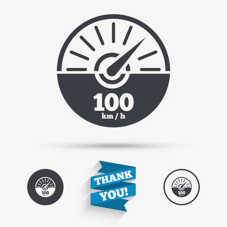 km: Tachometer sign icon. 100 km per hour revolution-counter symbol. Car speedometer performance. Flat icons. Buttons with icons. Thank you ribbon. Vector