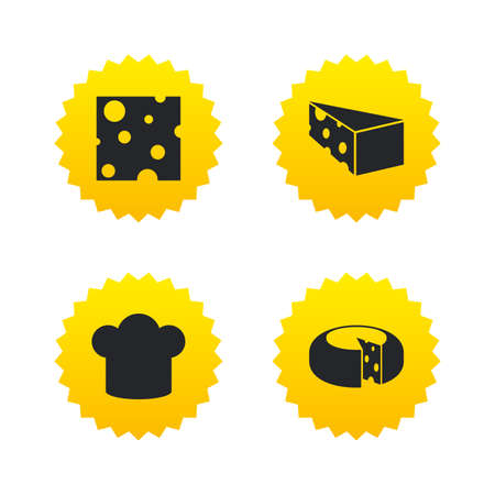 cheddar: Cheese icons. Round cheese wheel sign. Sliced food with chief hat symbols. Yellow stars labels with flat icons. Vector