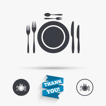 etiquette: Plate dish with forks and knifes. Dessert trident fork with teaspoon. Eat sign icon. Cutlery etiquette rules symbol. Flat icons. Buttons with icons. Thank you ribbon. Vector Illustration