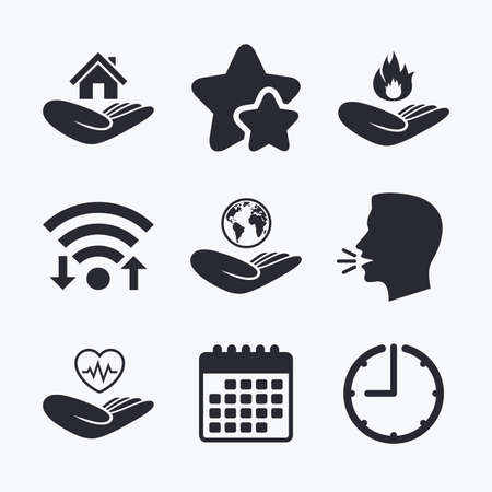 head protection: Helping hands icons. Health and travel trip insurance symbols. Home house or real estate sign. Fire protection. Wifi internet, favorite stars, calendar and clock. Talking head. Vector