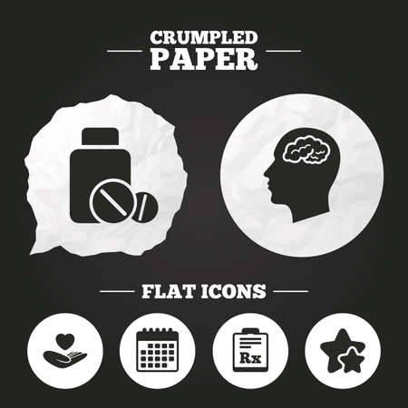 prescription bottle: Crumpled paper speech bubble. Medicine icons. Medical tablets bottle, head with brain, prescription Rx signs. Pharmacy or medicine symbol. Hand holds heart. Paper button. Vector
