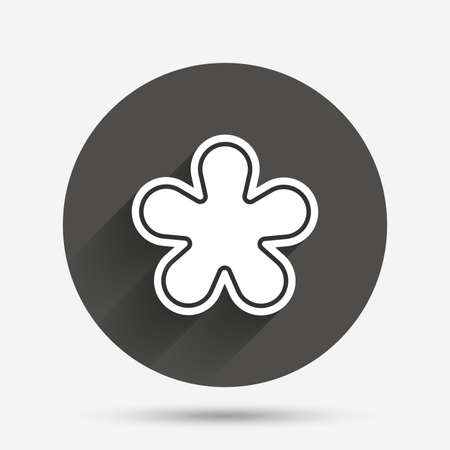 more information: Asterisk round footnote sign icon. Star note symbol for more information. Circle flat button with shadow. Vector