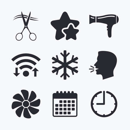 blow drying: Hotel services icons. Air conditioning, Hairdryer and Ventilation in room signs. Climate control. Hairdresser or barbershop symbol. Wifi internet, favorite stars, calendar and clock. Talking head. Vector