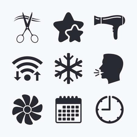 fiambres: Servicios de hoteles iconos. Aire acondicionado, Secador de pelo y ventilación en los signos de las habitaciones. Control climatico. Peluquería o barbería símbolo. Internet Wi-fi, estrellas favoritas, calendario y reloj. Cabeza hablante. Vector