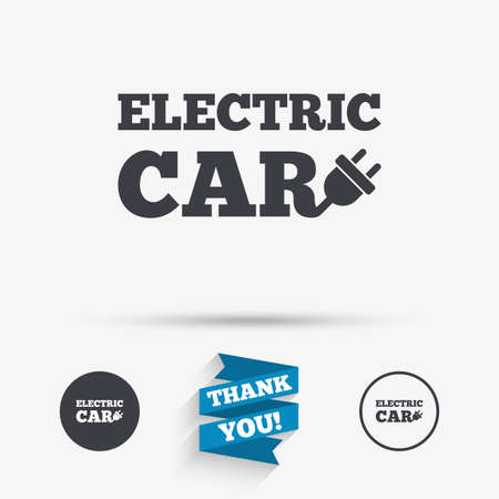 electric vehicle: Electric car sign icon. Electric vehicle transport symbol. Flat icons. Buttons with icons. Thank you ribbon. Vector