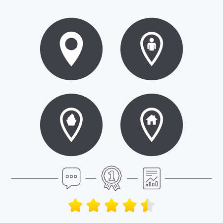 vote here: Map pointer icons. Home, food and user location symbols. Restaurant and cupcake signs. You are here. Chat, award medal and report linear icons. Star vote ranking. Vector