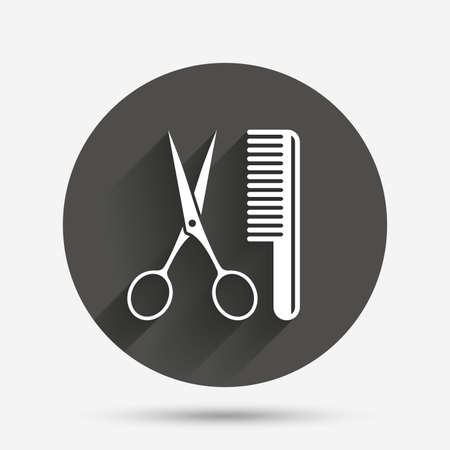 barber scissors: Comb hair with scissors sign icon. Barber symbol. Circle flat button with shadow. Vector