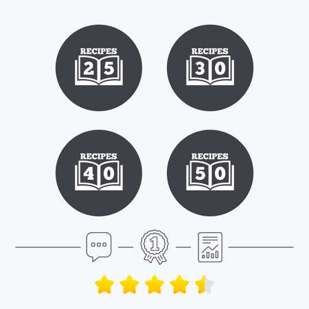 25 to 30: Cookbook icons. 25, 30, 40 and 50 recipes book sign symbols. Chat, award medal and report linear icons. Star vote ranking. Vector Illustration
