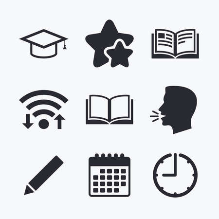 favorite book: Pencil and open book icons. Graduation cap symbol. Higher education learn signs. Wifi internet, favorite stars, calendar and clock. Talking head. Vector