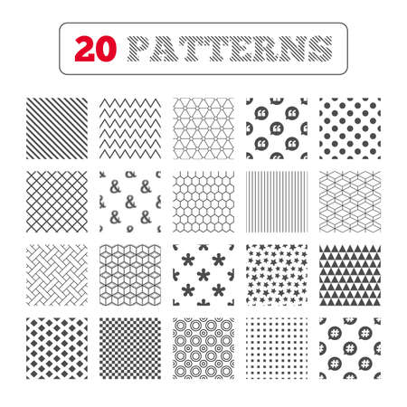 logical: Ornament patterns, diagonal stripes and stars. Quote, asterisk footnote icons. Hashtag social media and ampersand symbols. Programming logical operator AND sign. Speech bubble. Geometric textures. Vector