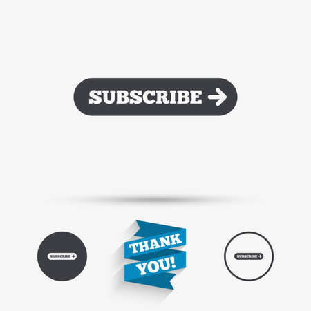 subscribing: Subscribe with arrow sign icon. Membership symbol. Website navigation. Flat icons. Buttons with icons. Thank you ribbon. Vector Illustration