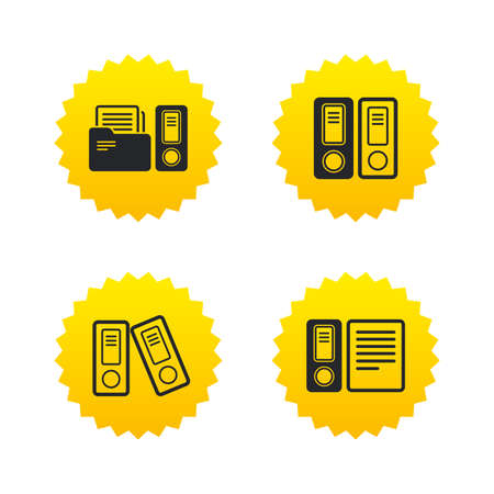 accountancy: Accounting icons. Document storage in folders sign symbols. Yellow stars labels with flat icons. Vector Illustration