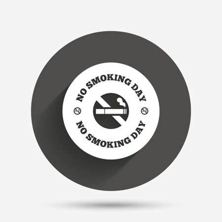 quit smoking: No smoking day sign icon. Quit smoking day symbol. Circle flat button with shadow. Vector Illustration