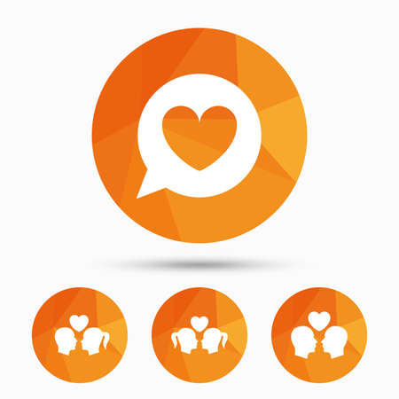 nackter junge: Couple love icon. Lesbian and Gay lovers signs. Romantic homosexual relationships. Speech bubble with heart symbol. Triangular low poly buttons with shadow. Vector