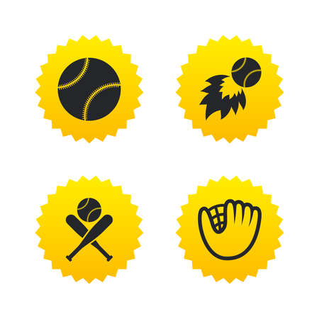 crosswise: Baseball sport icons. Ball with glove and two crosswise bats signs. Fireball symbol. Yellow stars labels with flat icons. Vector