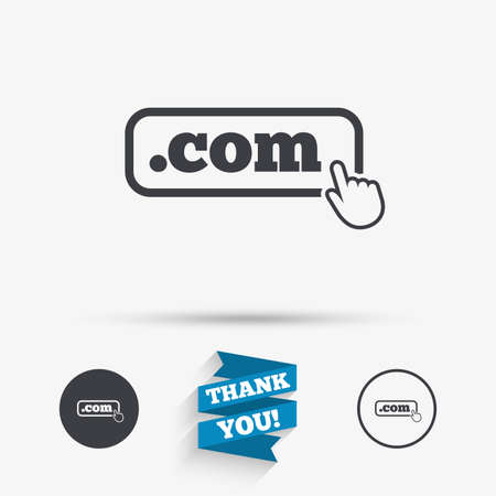 Domain COM sign icon. Top-level internet domain symbol with hand pointer. Flat icons. Buttons with icons. Thank you ribbon. Vector