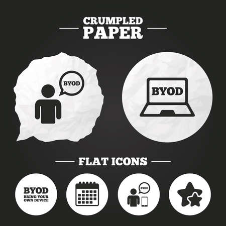 Crumpled paper speech bubble. BYOD icons. Human with notebook and smartphone signs. Speech bubble symbol. Paper button. Vector Illustration