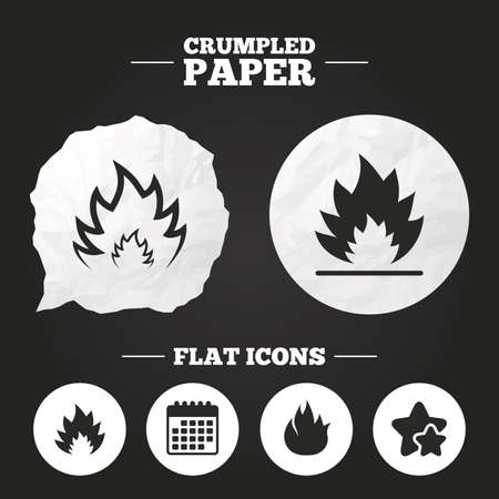 inflammable: Crumpled paper speech bubble. Fire flame icons. Heat symbols. Inflammable signs. Paper button. Vector