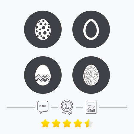 pasch: Easter eggs icons. Circles and floral patterns symbols. Tradition Pasch signs. Chat, award medal and report linear icons. Star vote ranking. Vector