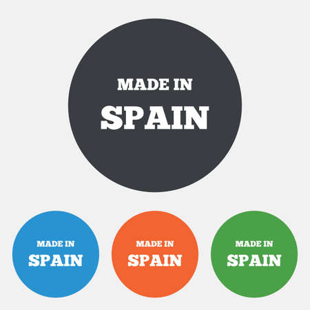 import trade: Made in Spain icon. Export production symbol. Product created sign. Round circle buttons. Vector Illustration