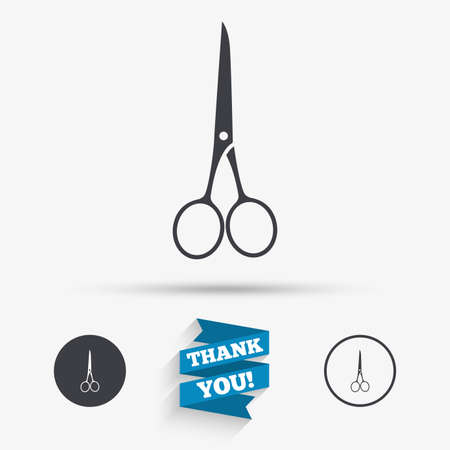 closed ribbon: Scissors hairdresser closed icon. Tailor symbol. Flat icons. Buttons with icons. Thank you ribbon. Vector Illustration