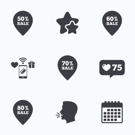head tag: Sale pointer tag icons. Discount special offer symbols. 50%, 60%, 70% and 80% percent sale signs. Flat talking head, calendar icons. Stars, like counter icons. Vector