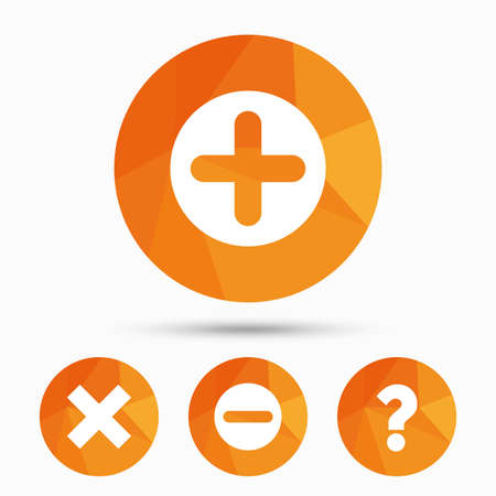 enlarge: Plus and minus icons. Delete and question FAQ mark signs. Enlarge zoom symbol. Triangular low poly buttons with shadow. Vector