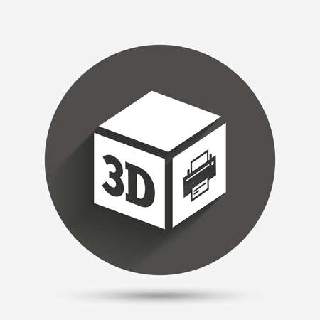 additive: 3D Print sign icon. 3d cube Printing symbol. Additive manufacturing. Circle flat button with shadow. Vector