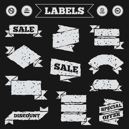 public private: Stickers, tags and banners with grunge. Stop smoking and no sound signs. Private territory parking or public access. Cigarette symbol. Speaker volume. Sale or discount labels. Vector