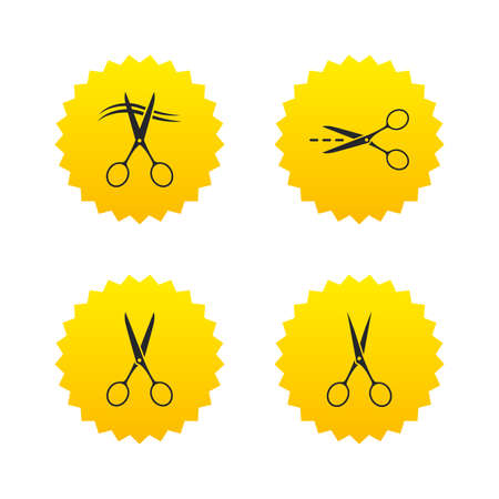 snip: Scissors icons. Hairdresser or barbershop symbol. Scissors cut hair. Cut dash dotted line. Tailor symbol. Yellow stars labels with flat icons. Vector Illustration