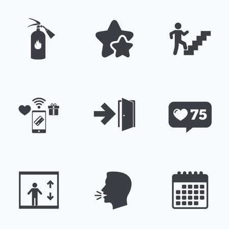 stairwell: Emergency exit icons. Fire extinguisher sign. Elevator or lift symbol. Fire exit through the stairwell. Flat talking head, calendar icons. Stars, like counter icons. Vector
