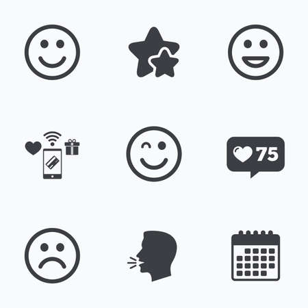 lol: Smile icons. Happy, sad and wink faces symbol. Laughing lol smiley signs. Flat talking head, calendar icons. Stars, like counter icons. Vector