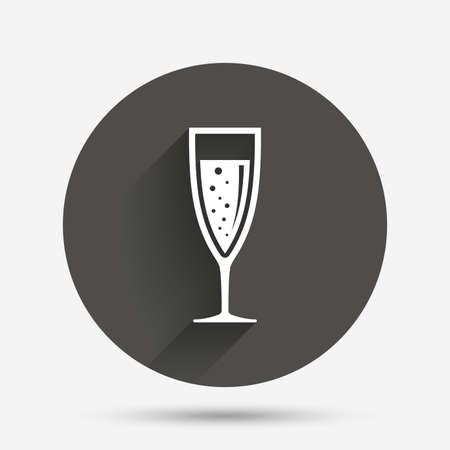 banquet: Glass of champagne sign icon. Sparkling wine with bubbles. Celebration or banquet alcohol drink symbol. Circle flat button with shadow. Vector