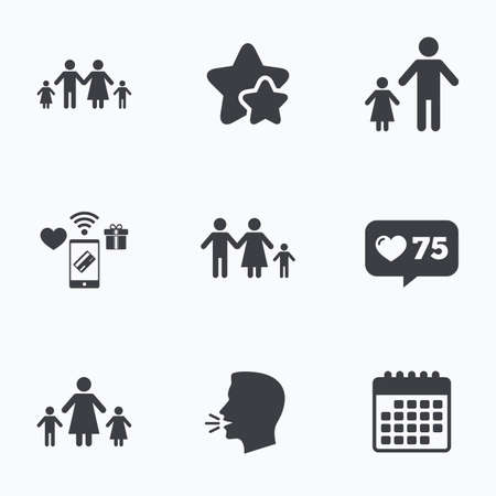 family with two children: Family with two children icon. Parents and kids symbols. One-parent family signs. Mother and father divorce. Flat talking head, calendar icons. Stars, like counter icons. Vector