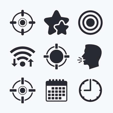 sights: Crosshair icons. Target aim signs symbols. Weapon gun sights for shooting range. Wifi internet, favorite stars, calendar and clock. Talking head. Vector