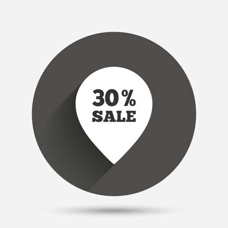 thirty percent off: 30% sale pointer tag sign icon. Discount symbol. Special offer label. Circle flat button with shadow. Vector