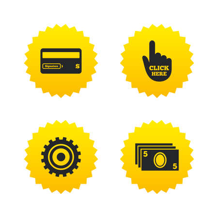 bank withdrawal: ATM cash machine withdrawal icons. Insert bank card, click here and check PIN, processing and get cash symbols. Yellow stars labels with flat icons. Vector