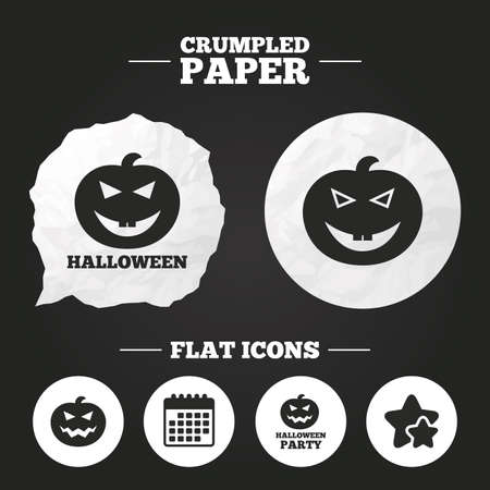 hallows: Crumpled paper speech bubble. Halloween pumpkin icons. Halloween party sign symbol. All Hallows Day celebration. Paper button. Vector Illustration
