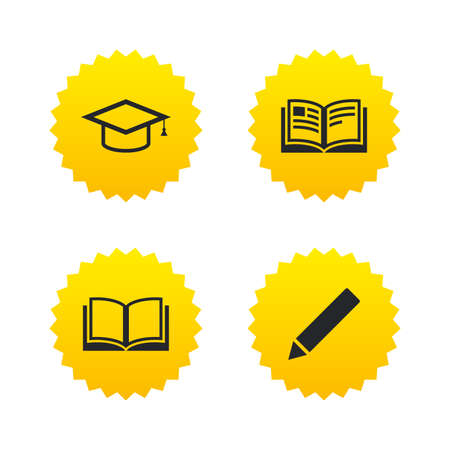 higher: Pencil and open book icons. Graduation cap symbol. Higher education learn signs. Yellow stars labels with flat icons. Vector