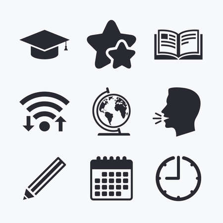 favorite book: Pencil and open book icons. Graduation cap and geography globe symbols. Education learn signs. Wifi internet, favorite stars, calendar and clock. Talking head. Vector