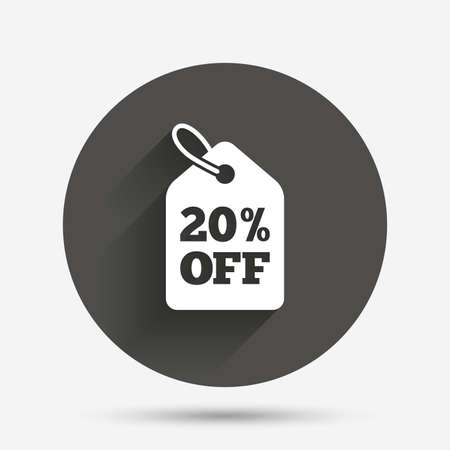 20% sale price tag sign icon. Discount symbol. Special offer label. Circle flat button with shadow. Vector