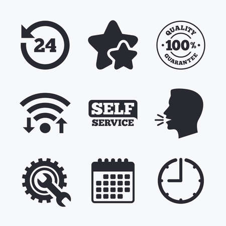 head support: Repair fix tool icons. 24h Customer support service signs. 100% quality guarantee symbol. Cogwheel gear with wrench key. Wifi internet, favorite stars, calendar and clock. Talking head. Vector