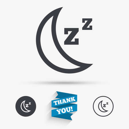 standby: Sleep sign icon. Moon with zzz button. Standby. Flat icons. Buttons with icons. Thank you ribbon. Vector Illustration
