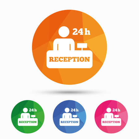 registration mark: Reception sign icon. 24 hours Hotel registration table with administrator symbol. Triangular low poly button with flat icon. Vector