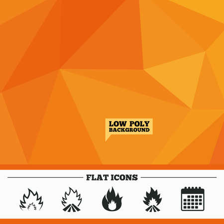 inflammable: Triangular low poly orange background. Fire flame icons. Heat symbols. Inflammable signs. Calendar flat icon. Vector Illustration