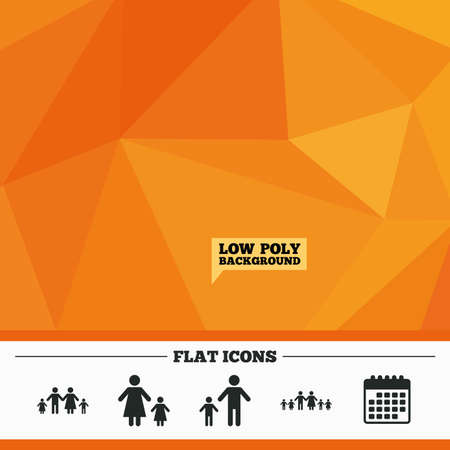 care allowance: Triangular low poly orange background. Large family with children icon. Parents and kids symbols. One-parent family signs. Mother and father divorce. Calendar flat icon. Vector