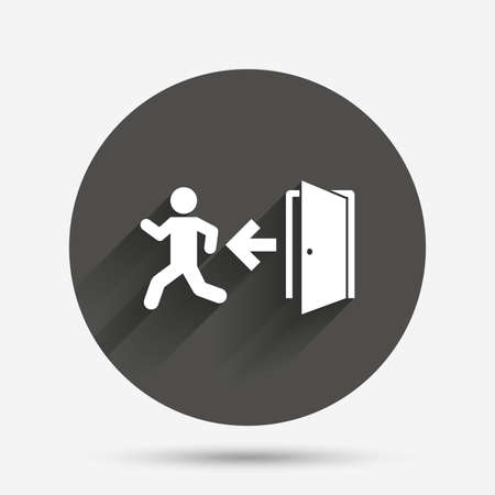 exit emergency sign: Emergency exit with human figure sign icon. Door with left arrow symbol. Fire exit. Circle flat button with shadow. Vector Illustration