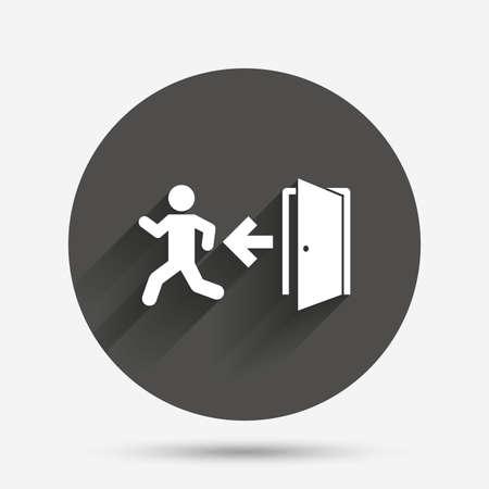 Sortie de secours avec la figure humaine signe icône. Porte avec gauche symbole de la flèche. Sortie de secours. Cercle bouton plat avec ombre. Vecteur